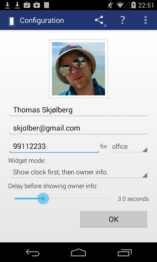 Instant Owner Info Widget- screenshot