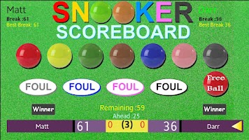 Screenshot of Snooker Scoreboard
