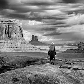 Rider at Ford Point by Jim Salvas - Black & White Landscapes ( monument valley, clouds, stagecoach, horse, buttes, merrick butte, movie, western, john ford )