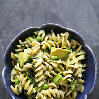 Pesto Pasta with Spinach and Avocado.