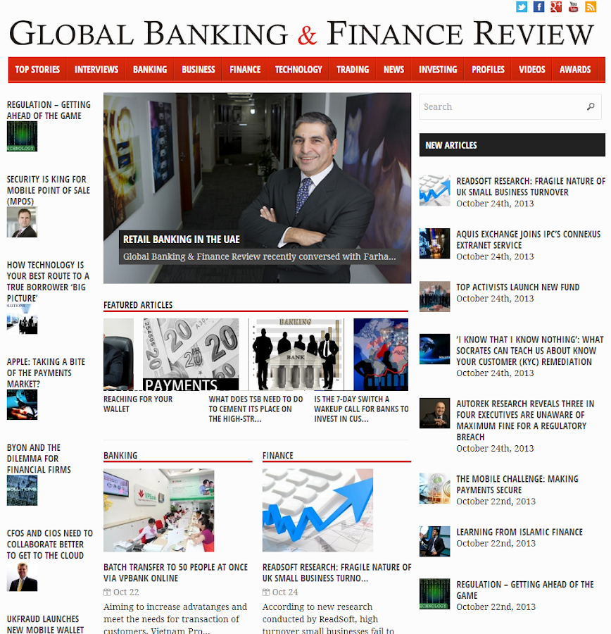 Global Banking And Finance.com - screenshot
