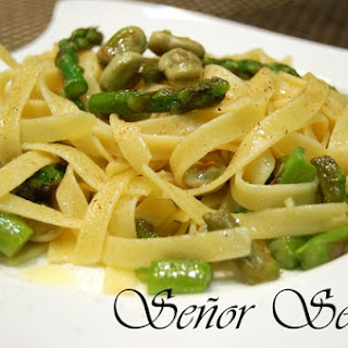 Tagliatelle with Wild Asparagus, Baby Broad Beans, and Nutmeg.