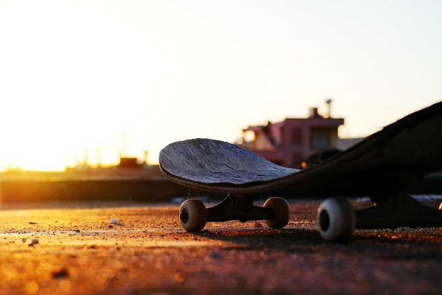 skate. by Onur Genes - Artistic Objects Other Objects ( skate, orange, building, old, rooftop, skating, skateboard, saturate, sun, roof, skateboarding, stock, saturation, sunset, brown, decayed, decay )