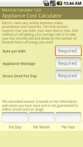Electricity Calculator screenshot 0