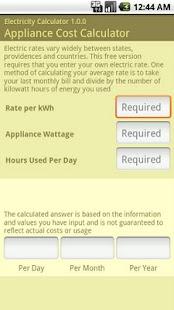 Electricity Calculator- screenshot thumbnail