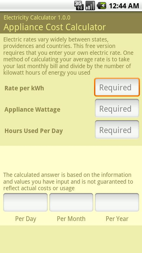 Electricity Calculator - screenshot