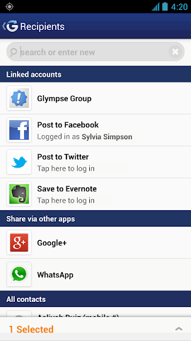 Screenshots for Glympse