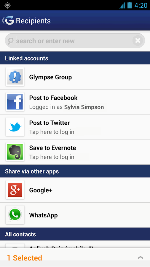 Glympse - screenshot