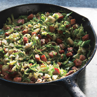 Sautéed Shredded Brussels Sprouts with Smoked Ham and Toasted Pecans