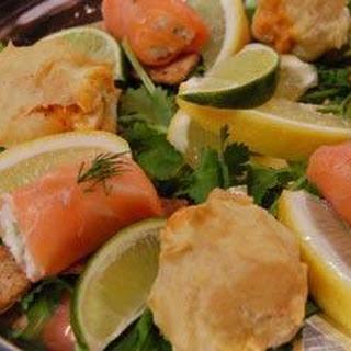 Smoked Salmon, Ricotta And Crab Rolls.