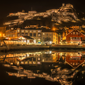 Halden City by Johannes Mikkelsen - City,  Street & Park  Night ( water, reflection, waterscape, nightshot, art, sea, seascape, cityscape, architecture, norway, city, nightscape, halden, perfection, fortress, d800, artistic, castle, night, norge, perfect, nikon, , relax, tranquil, relaxing, tranquility, city at night, street at night, park at night, nightlife, night life, nighttime in the city )