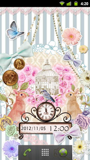 2匹のウサギと青い鳥 時計付きライブ壁紙