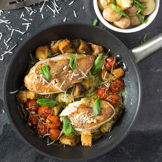 Creamy Pesto Chicken with Roast Tomatoes and Croutons.