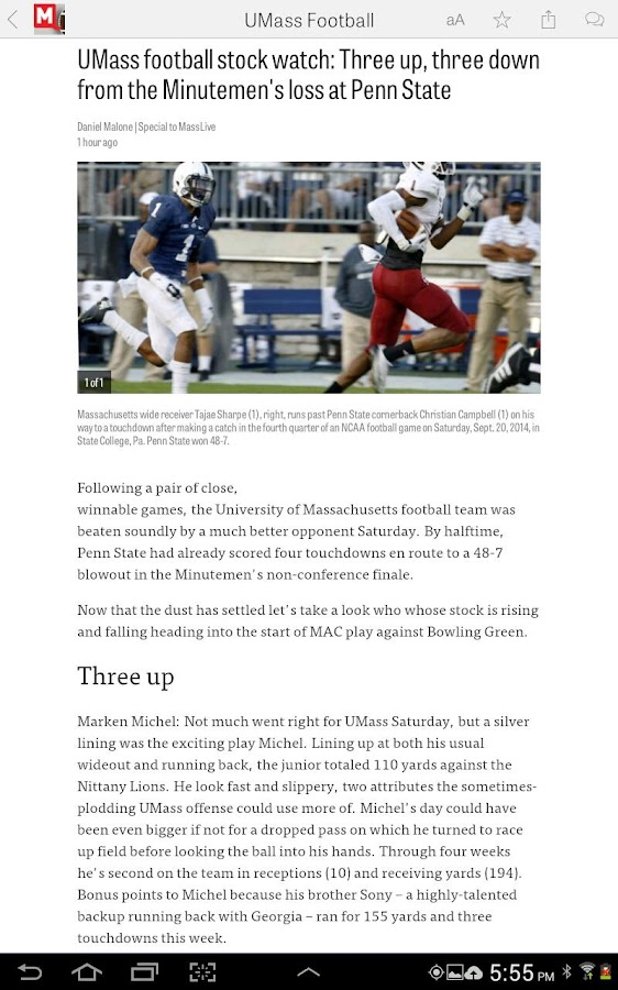 MassLive.com: UMass Football - screenshot