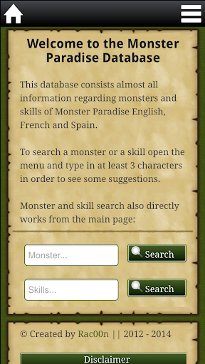 Database for Monster Paradise