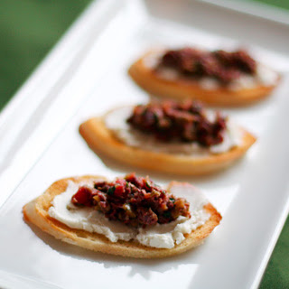 Bruschetta with Goat Cheese and Olive Tapenade.