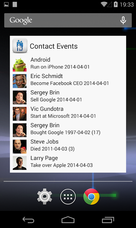 Contact Lookup Events- screenshot