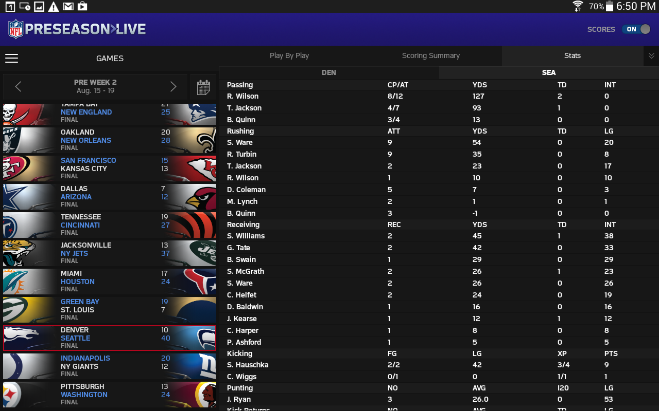 NFL Preseason Live for Tablet - screenshot