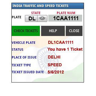 INDIA TRAFFIC TICKETS