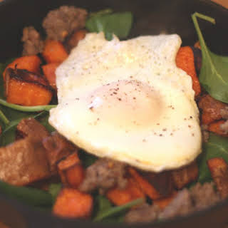 Roasted Sweet Potato and Spinach Breakfast Hash.