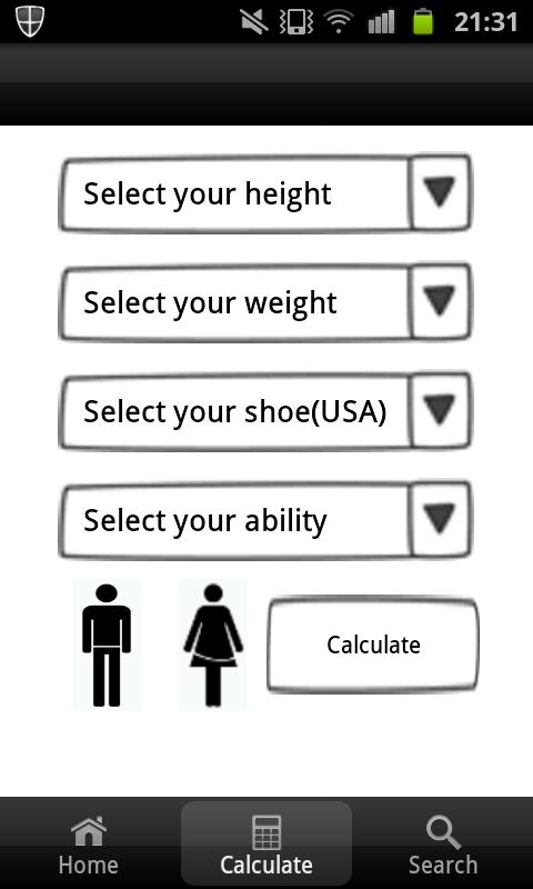 Snowboard Size Calculator - screenshot