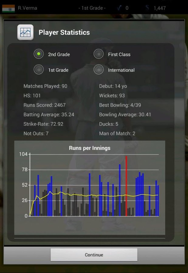 Cricket Player Manager - Android - 80.0KB