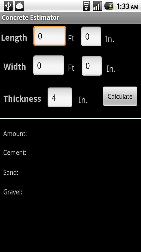 Concrete Estimator- screenshot