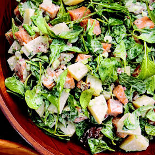 Two-Potato Salad with Creole Mustard, Bacon, and Arugula.