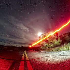 A Walk through the Night by John Chu - Abstract Light Painting ( nature photography, moonrise )
