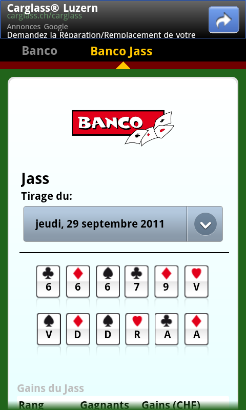 SwissLotto (Switzerland Lotto) - screenshot