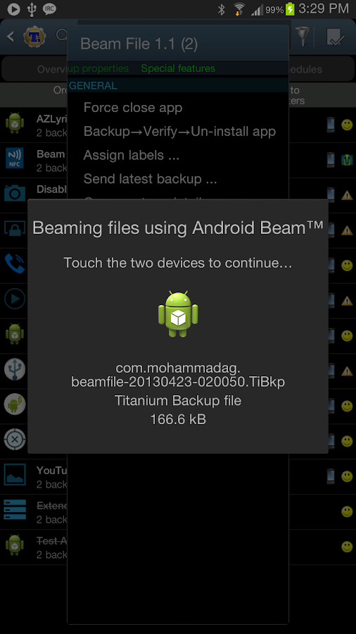 File Beam (Touch to Send) - screenshot