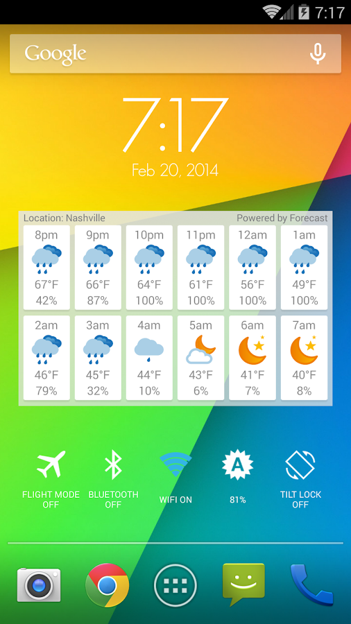 Hourly Weather Widget - screenshot