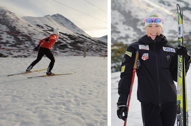 Kikkan with Skis