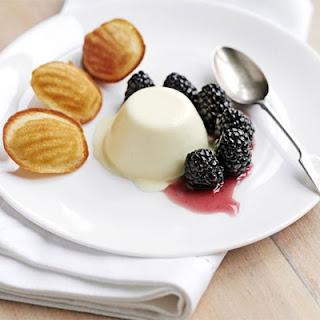 Lemon Panna Cotta With Blackberries & Honey Madeleines.