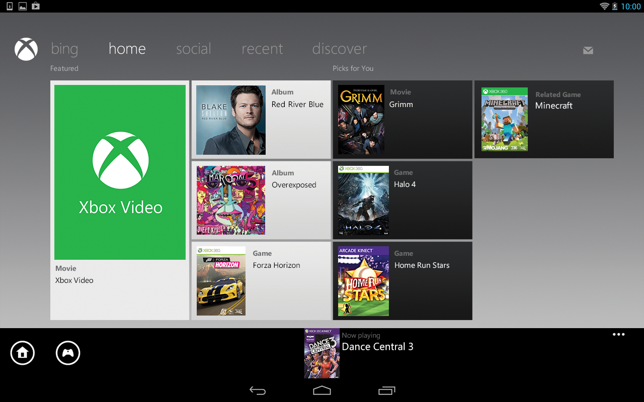 Xbox 360 SmartGlass – Capture d'écran