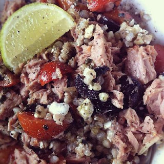 Warm Tuna Buckwheat Dairy Free Pesto Salad
