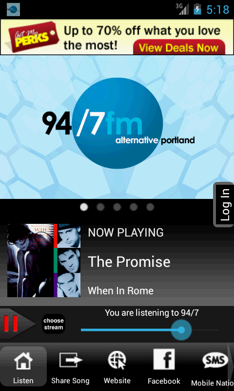94/7 FM Alternative Portland - screenshot