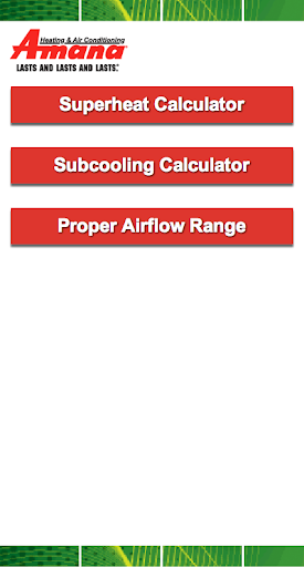 Amana Superheat Calculator