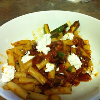 Brown Rice Pasta with Asparagus and Goat Cheese.