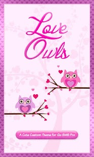 Cute Love Owls Theme Go SMS