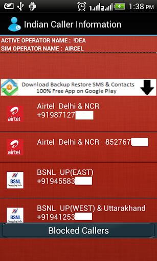 Indian Caller Information