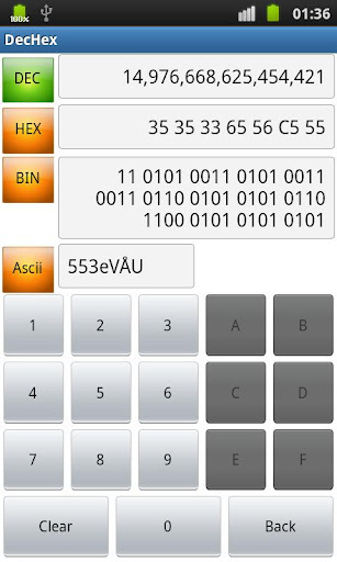 DEC HEX BIN ASCII Converter