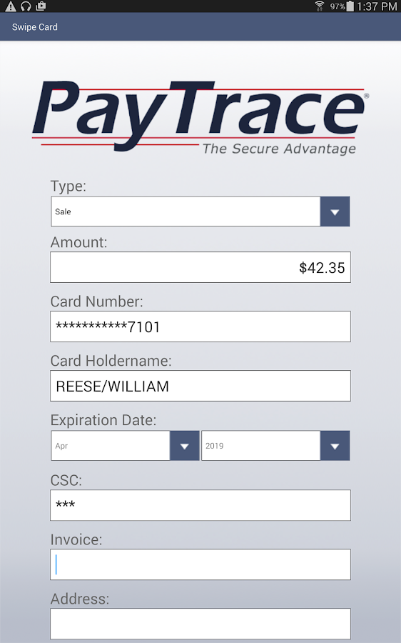 PayTrace Go 1.0- screenshot