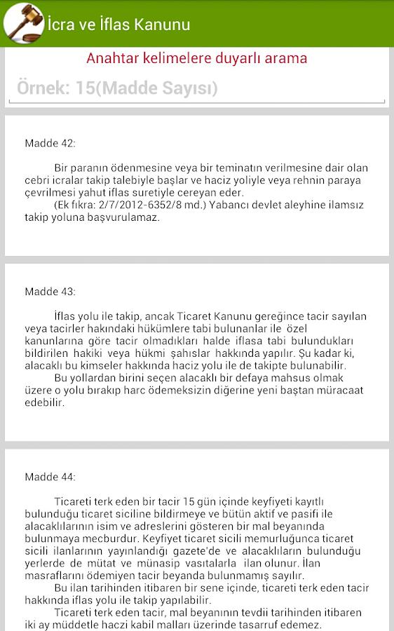 İcra ve İflas Kanunu - screenshot