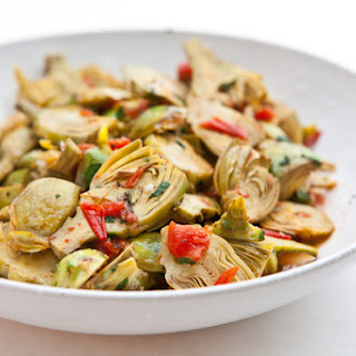 Baby Artichokes with Garlic and Tomatoes.