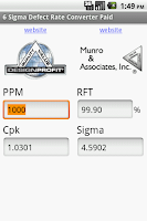 Screenshot of Six Sigma Defect Converter
