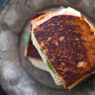 Turkey Grilled Cheese Sandwich with Pickled Onions.