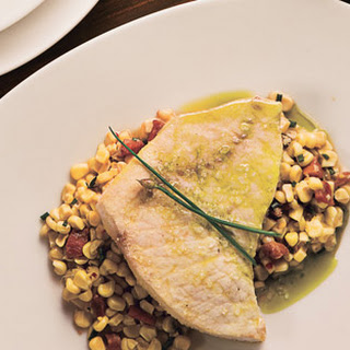 Oil-Poached Swordfish with White Corn, Guanciale and Chive Oil