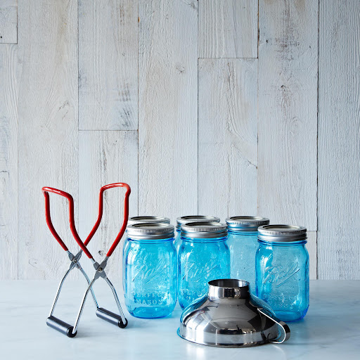 Blue Ball American Heritage Mason Jars (Set of 6) with Canning Lifter & Funnel