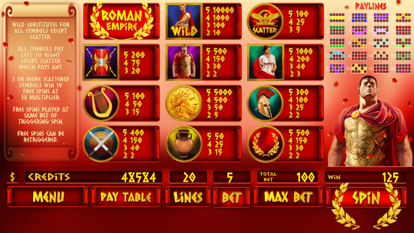 Roman Empire Slot Machine - Play the Online Version for Free